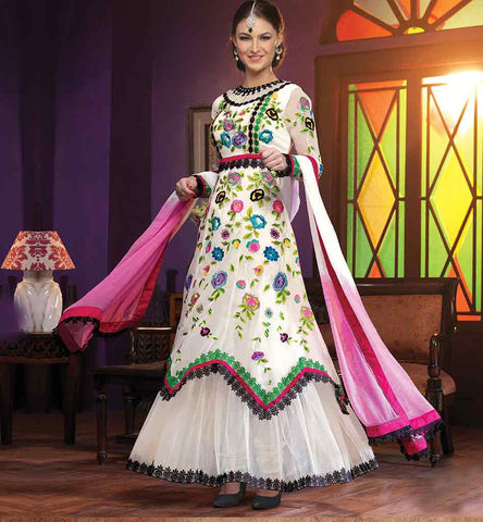PURCHASE PARTY WEAR SALWAR KAMEEZ ONLINE IN INDIA OUT-STANDING OFF-WHITE GEORGETTE AND NET DRESS WITH SANTOON SALWAR AND CHIFFON DUPATTA