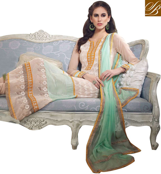 CLASSY CREAM GEORGETTE OCCASION WEAR SALWAR KAMEEZ WITH DUPATTA RTARI5511