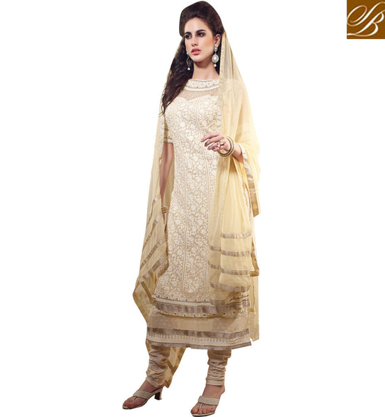 CATCHY CREAM GEORGETTE OCCASION WEAR SALWAR KAMEEZ WITH DUPATTA RTARI5512