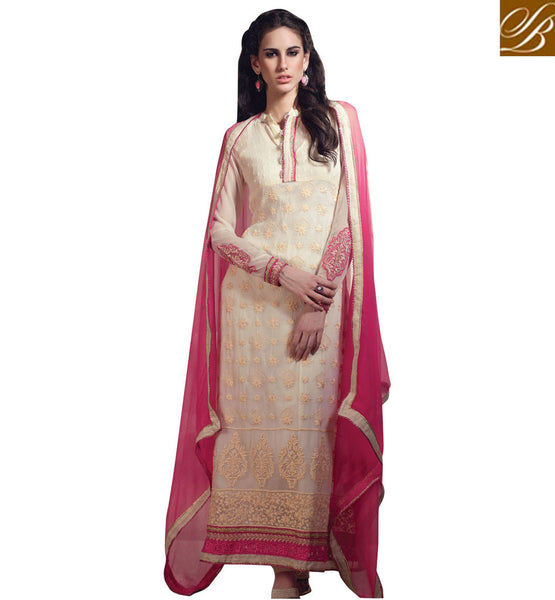 TRENDY CREAM GEORGETTE OCCASION WEAR SALWAR KAMEEZ WITH DUPATTA RTARI5514