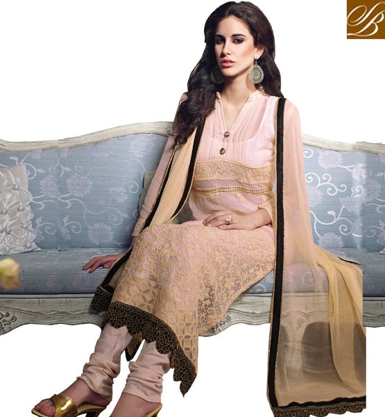 EXCITING CREAM GEORGETTE OCCASION WEAR SALWAR KAMEEZ WITH DUPATTA RTARI5515