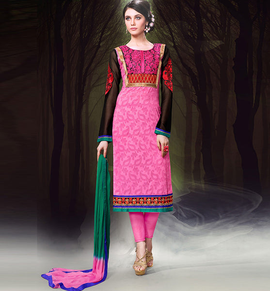 DESIGNER PINK CHANDERI COTTON DRESS MATERIAL RTZH551 - StylishBazaar - Diwali Shopping, Deepawali Shopping, Diwali 2014, Festive Trends 2014, online shopping salwar kameez, salwar kameez online shop, shop for salwar kameez online, online shopping designer salwar kameez, salwar suit online