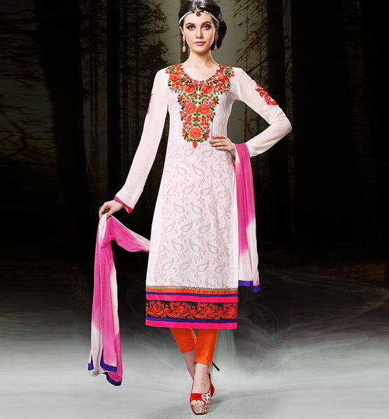 DESIGNER OFF-WHITE CHANDERI COTTON DRESS MATERIAL RTZH552 - StylishBazaar- Diwali Shopping, Deepawali Shopping, Diwali 2014, Festive Trends 2014, Cotton salwar kameez online, designer Cotton salwar suits online, salwar kameez Shopping, Women's Casual Dresses India, Cotton Festive wear suits