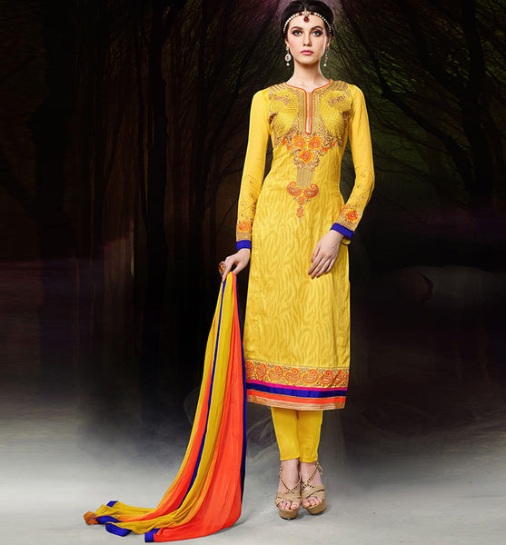 DESIGNER YELLOW CHANDERI COTTON DRESS MATERIAL RTZH553 - StylishBazaar - Diwali Shopping, Deepawali Shopping, Diwali 2014, Festive Trends 2014, Cotton Salwar Kameez Online, Designer Cotton Salwar Suits, Online Salwar Kameez Shopping, Party wear Cotton Suits, Festive Wear Dresses, Party wear Dresses