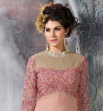HOT DUSTY PINK WEDDING WEAR SALWAR SUIT WITH SEQUIN AND EMBROIDERY