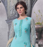 SIZZLING SKY-BLUE SALWAR SUIT TO WEAR AT THE WEDDINGS