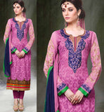 DESIGNER PINK CHANDERI COTTON DRESS MATERIAL RTZH5555