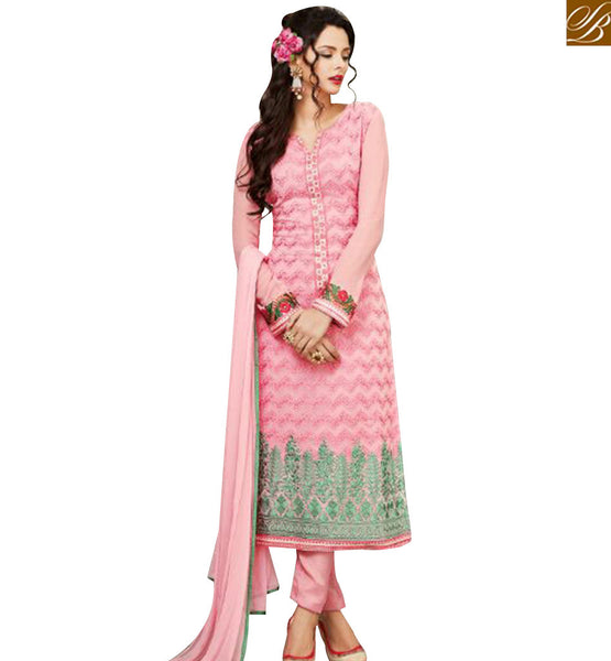 STYLISH BAZAAR SHOP PINK GEORGETTE STRAIGHT CUT SALWAR KAMEEZ FROM STYLISH BAZAAR MJSYB55