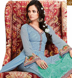 SUPERB SKY BLUE GEORGETTE STRAIGHT CUT SALWAR KAMEEZ WITH GREEN EMBROIDERY WORK ON BOTTOM OF THE TOP MJSYB56