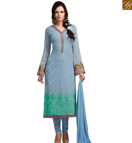 STYLISH BAZAAR SUPERB SKY BLUE GEORGETTE STRAIGHT CUT SALWAR KAMEEZ WITH GREEN EMBROIDERY WORK ON BOTTOM OF THE TOP MJSYB56