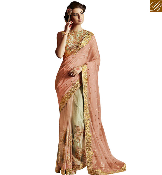 A STYLISH BAZAAR PRESENTATION ROYAL PEACH EVENING WEAR DESIGNER SAREE   BLOUSE DESIGN ANRA56