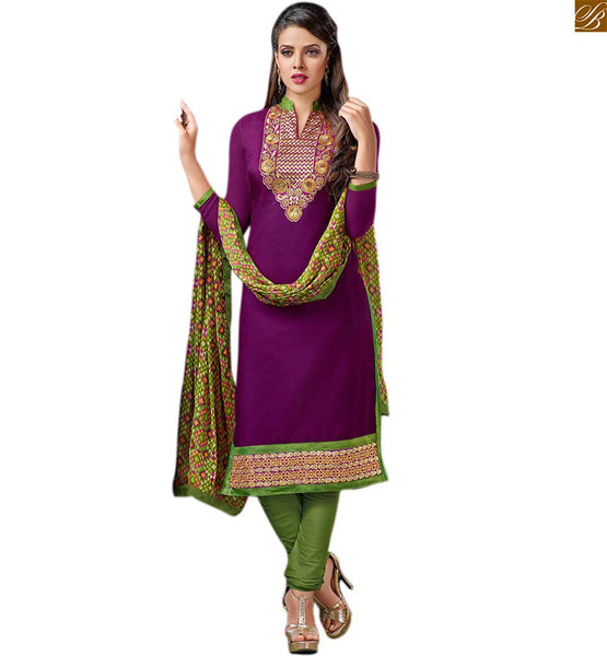 Stylish ladies suits simple salwar kameez designs online india purple cotton floral embroidered neck line designer salwar kameez with green cotton churidar bottom image