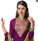 Check out our all new collection of stylish ladies suits simple salwar kameez designs online india for daily wear purple cotton floral embroidered neck line designer salwar kameez with green cotton churidar bottom photo