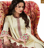 STUNNING CREAM GEORGETTE STRAIGHT CUT SALWAR KAMMEZ WITH BROWN EMBROIDERY WORK MJSYB57