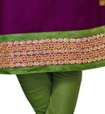 Purple cotton floral embroidered neck line designer salwar kameez with green cotton churidar bottom image