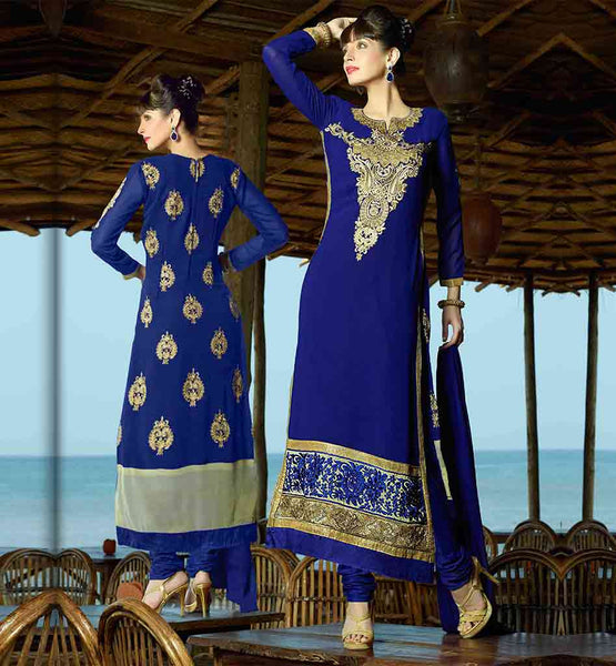 2015 SALWAR KAMEEZ DESIGNS WITH BORDERED DUPATTA STRAIGHT CUT PARTY WEAR SALWAR SUIT WITH RICH EMBROIDERY WORK