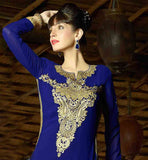 STRAIGHT CUT PARTY WEAR SALWAR SUIT WITH RICH EMBROIDERY WORK  BEAUTIFUL BLUE EMBROIDERED TOP WITH MATCHING SALWAR AND DUPATTA