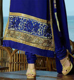 BEAUTIFUL BLUE EMBROIDERED TOP WITH MATCHING SALWAR AND DUPATTA 2015 SALWAR KAMEEZ DESIGNS WITH BORDERED ODHNI
