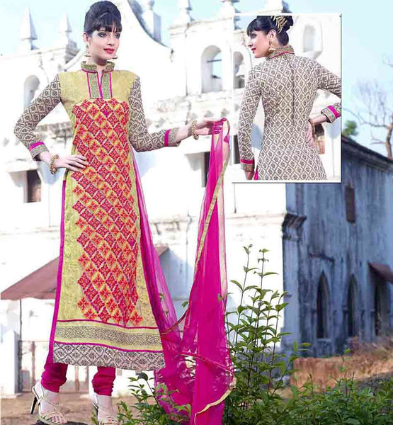 NECK DESIGNS FOR SALWAR KAMEEZ WITH BORDERS LOVELY EMBROIDERY AND CHINESE COLLAR STRAIGHT CUT SALWAR SUIT