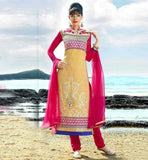 ASIAN SALWAR KAMEEZ WITH DESIGNER NECKLINE CREAM AND PINK EMBROIDERY WORK STRAIGHT CUT SALWAR SUIT