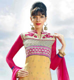 CREAM AND PINK EMBROIDERY WORK STRAIGHT CUT SALWAR SUIT SMALL BUTTI PATTERN DESIGN ON FAUX GEORGETTE TOP