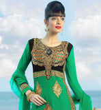 GOOD LOOKING EMBROIDERY PATTERN SALWAR SUIT WITH LACE WORK STYLISH GREEN TOP WITH CONTRAST YOKE AND BUTTA PATTERN