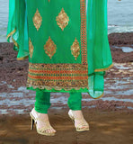 STYLISH GREEN TOP WITH CONTRAST YOKE AND BUTTA PATTERN BACK NECK DESIGN FOR SALWAR KAMEEZ PATTERNS