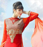 NEW 2015 PATTERN DRESS WITH VERY GOOD DESIGNING AND COLOR COMBINATION VALUE FOR MONEY RED AND ORANGE COMBINATION EMBROIDERED SUIT SET