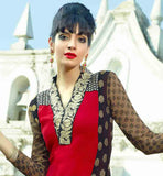 MULTICOLOR GEOMETRIC PATTERN LACE WORK DRESS RAVISHING RED FAUX GEORGETTE STRAIGHT CUT SUIT