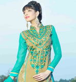 VIBRANT COLOR THREAD WORK NECKLINE WITH STYLISH COLLAR PATTERN NEW 2015 PATTERN STRAIGHT CUT DRESS WITH DUPATTA