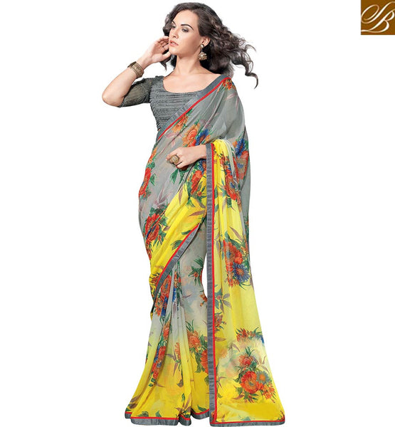 ADORABLE FLORAL PRINTED SAREE RTKUN5713 BY YELLOW GREY