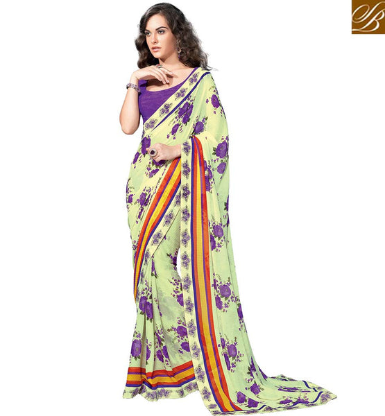 ALLURING PRINTED SARI DESIGN FOR PARTIES RTKUN5715 BY PURPLE