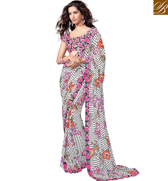 APPEALING PARTY WEAR SAREE DESIGN RTKUN5717 BY WHITE AND PINK
