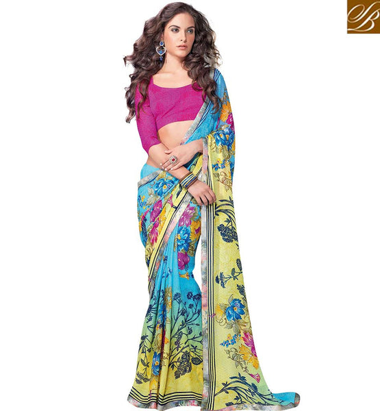 ELEGANT FLOWERY PRINTED SARI DESIGN RTKUN5735 BY STYLISH BAZAAR