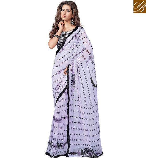 ENTICING BLACK AND WHITE PRINTED SAREE RTKUN5736 BY STYLISH BAZAAR