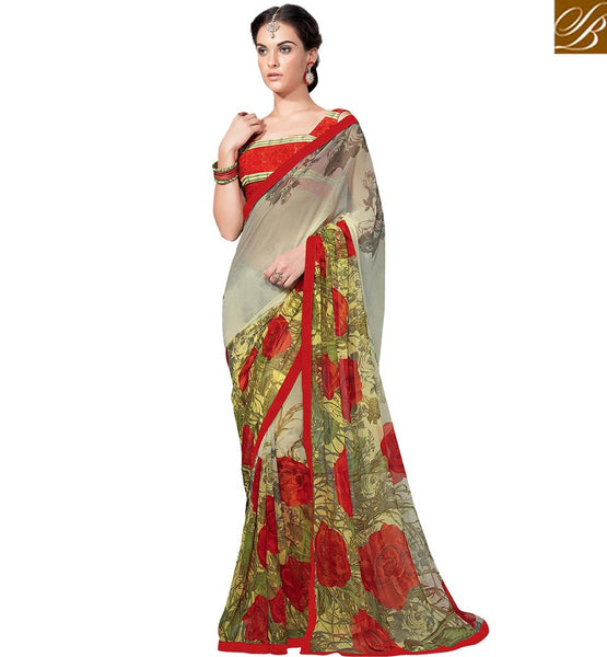 DAZZLING FLOWERY PRINTED SARI DESIGN RTKUN5737 BY BROWN RED & YELLOW