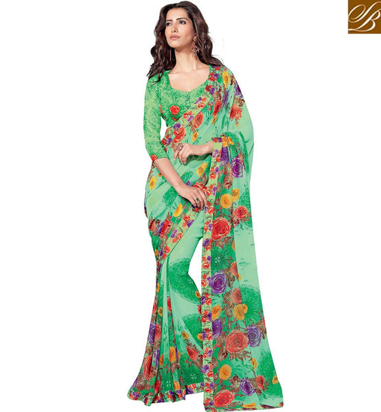 ENTHRALLING GREEN FLORAL PRINT SAREE BLOUSE RTKUN5738 BY GREEN