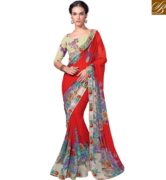 BY STYLISH BAZAAR EXQUISITE FLOWERY PATTERN PRINT SARI DESIGN RTKUN5739