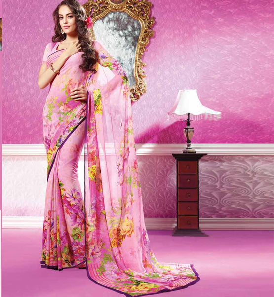 Pink Sahiba Sarees Surat Digital Printed Saree with Blouse Online Shopping India