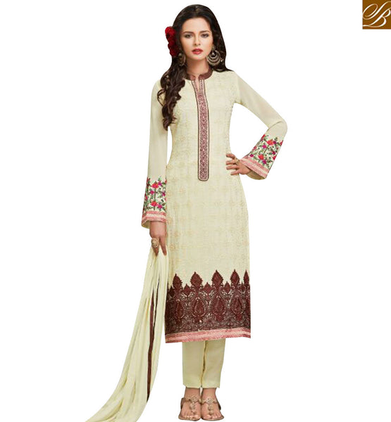 STYLISH BAZAAR STUNNING CREAM GEORGETTE STRAIGHT CUT SALWAR KAMMEZ WITH BROWN EMBROIDERY WORK MJSYB57