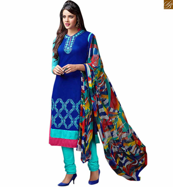 Punjabi suit salwar kameez designs 2015 beautiful ethnic dress blue cotton high neck designer salwar kameez with embroidered patch work on neck and piping on neck line Image