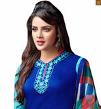 Eye-catching punjabi suit salwar kameez designs 2015 perfect for evening parties too. Beautiful ethnic dress that will give you a feeling of being an indian blue cotton high neck designer salwar kameez with embroidered patch work on neck and piping on neck line photo