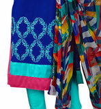 Blue cotton high neck designer salwar kameez with embroidered patch work on neck and piping on neck line pic