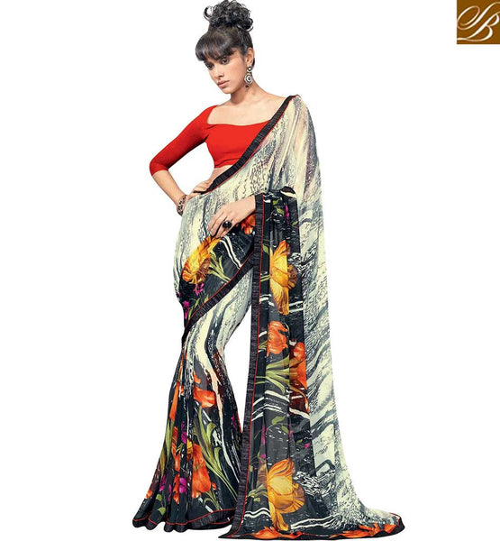 LOVELY DIGITAL PRINTED SAREE DESIGN RTKUN5801 BY CREAM & BLACK