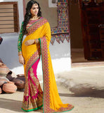 SHOP ONLINE LATEST DESIGN PREMIUM WEDDING WEAR SAREE SUPERB YELLOW AND PINK DESIGNER LOOK GEORGETTE SADI WITH DESIGNER CHOLI