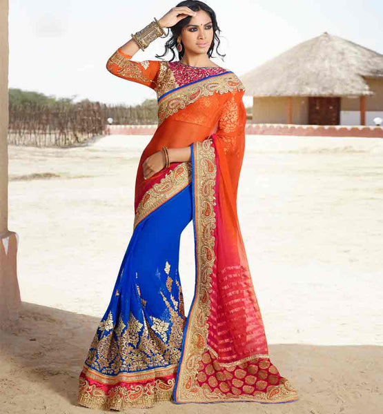 SHOP EVER STYLISH LATEST BLOUSE DESIGN FOR SAREE ONLINE WONDERFUL ORANGE AND BLUE GEORGETTE SARI WITH EYE-CATCHING BLOUSE