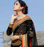 BLACK AND CHIKOO NET AND GEORGETTE MATERIAL SARI WITH EXCELLENT BLOUSE WONDERFUL WEDDING WEAR SAREE HAS LOVELY HEAVY ZARI, RESHAM EMBROIDERY STONE WORK AND LACE BORDER