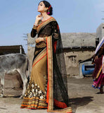 INDIAN DESIGNER WEDDING SARIS ONLINE SHOPPING WITH PRICE BLACK AND CHIKOO NET AND GEORGETTE MATERIAL SARI WITH EXCELLENT BLOUSE