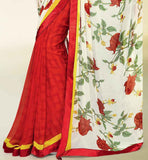 CREAM & MAROON PRINTED GEORGETTE SAREE RTNK5807