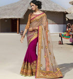 NEW 2015 FASHION DESIGNER SAREE BLOUSES DESIGNS CLASSIC CHIKOO AND PINK NET-GEORGETTE SARI WITH RICH DESIGN ART-SILK BLOUSE